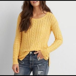 American Eagle Sedona Cable Knit Yellow Sweater Size M